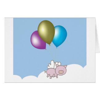 Tarjeta Arte lindo del cerdo y de los globos del vuelo
