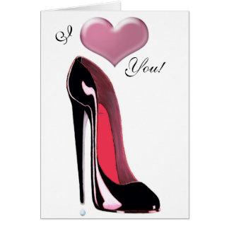 Tarjeta Arte negro del zapato del estilete