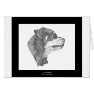 Tarjeta Arte Notecard #2 DBD del lápiz de Rottweiler