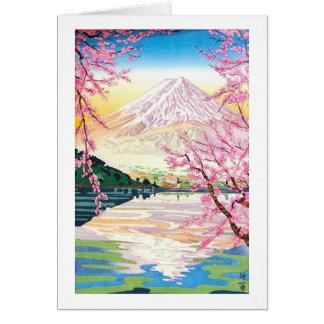 Tarjeta Arte oriental fresco del cerezo de la primavera de