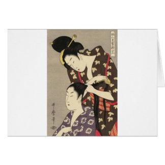 Tarjeta Arte para mujer de Utamaro Yuyudo Ukiyo-e de la