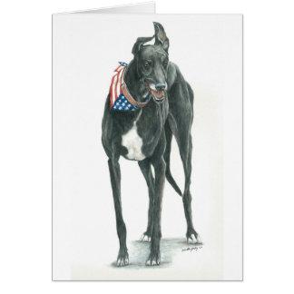 Tarjeta Arte patriótico Notecard del perro del galgo