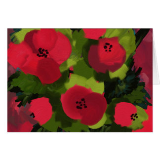 Tarjeta Arte pintado de la flora de las amapolas el  