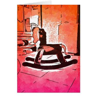 Tarjeta Arte pop de madera del juguete del caballo