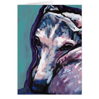 Tarjeta arte pop del perro del whippet del galgo