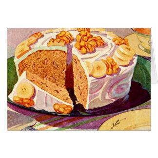 Tarjeta Arte retro de la torta de la nuez del plátano de