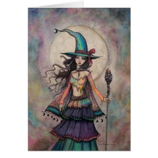 Tarjeta Arte Wiccan de la fantasía de Halloween de la