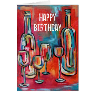 Tarjeta Artsy chillón azul rojo del cumpleaños de los