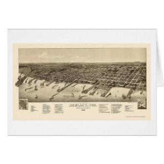 Tarjeta Ashland, mapa panorámico de los WI - 1886