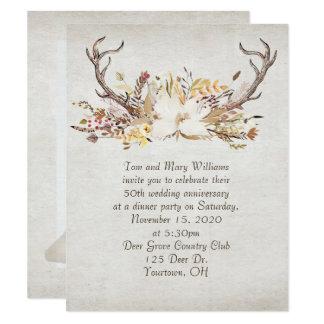 Tarjeta astas del ramo y de los ciervos del cena-otoño del
