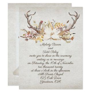 Tarjeta astas del ramo y de los ciervos del otoño del boda
