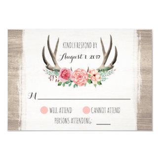 Tarjeta Astas florales RSVP personalizado boda rústico