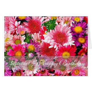 Tarjeta Asteres rosados imponentes de septiembre para el