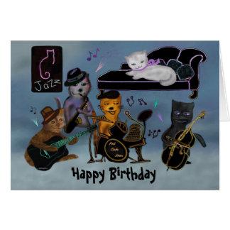 Tarjeta Atasco gordo del cumpleaños de los gatos