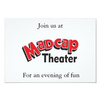 Tarjeta atolondrada de RSVP del teatro (blanca) Invitación 8,9 X 12,7 Cm