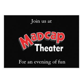 Tarjeta atolondrada de RSVP del teatro (negro) Invitación