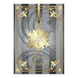 Tarjeta atractiva dorada del día de fiesta de la invitación 12,7 x 17,8 cm