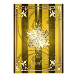 Tarjeta atractiva dorada del día de fiesta del oro