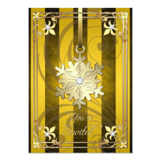 Tarjeta atractiva dorada del día de fiesta del oro invitación 12,7 x 17,8 cm