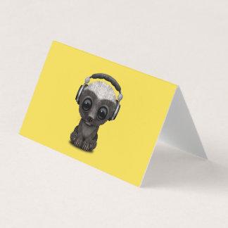 Tarjeta Auriculares que llevan lindos de DJ del tejón de