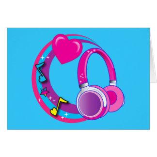 Tarjeta Auriculares y corazones