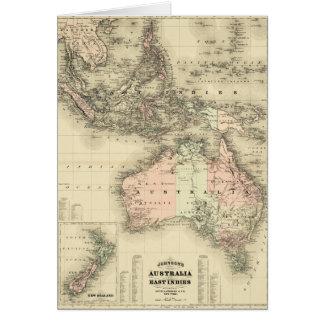 Tarjeta Australia 1867 y mapa del este del vintage de los