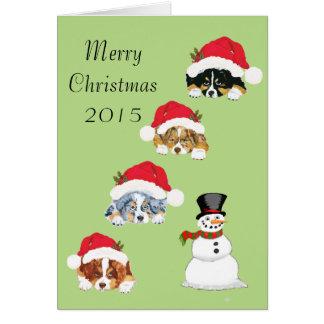 Tarjeta australiana de los perritos del navidad