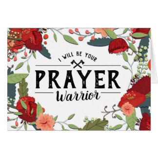 Tarjeta Ayuda del cáncer, religiosa, soy su guerrero del