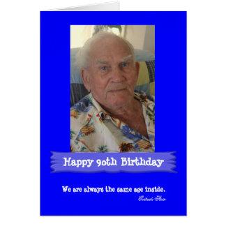 Tarjeta Azul brillante adaptable del cumpleaños de la foto