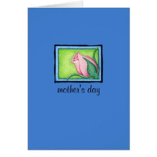 Tarjeta azul color de rosa del día de madre