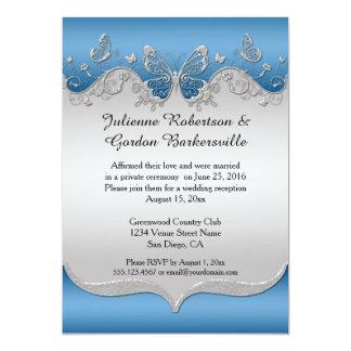 Tarjeta Azul con el boda de plata adornado del poste de