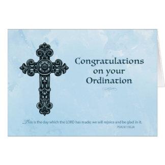 Tarjeta Azul cruzado adornado de la enhorabuena de la