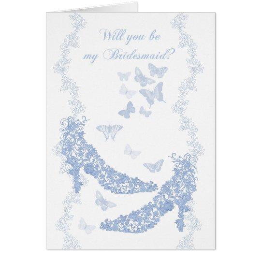 Tarjeta azul de la dama de honor - usted será mi