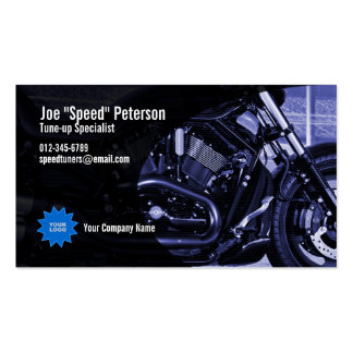 Tarjeta azul de la empresa de servicios de la moto tarjeta de visita