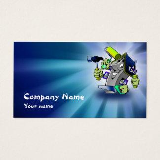 Tarjeta azul de la empresa de servicios del