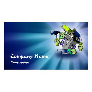 Tarjeta azul de la empresa de servicios del repara tarjetas de visita
