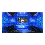 Tarjeta azul de la foto de la invitación de la fan tarjeta fotografica personalizada