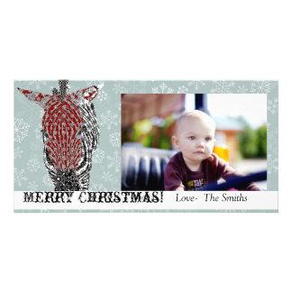 Tarjeta azul de la foto del navidad de la cebra de tarjetas personales con fotos