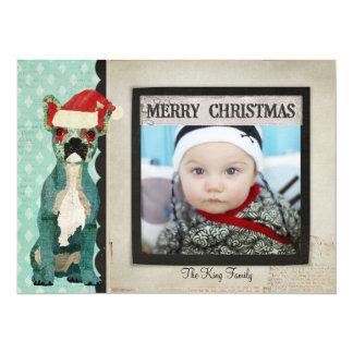 Tarjeta azul de la foto del navidad del dogo invitación 13,9 x 19,0 cm