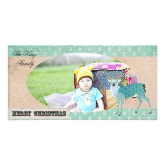 Tarjeta azul de la foto del navidad del dólar del tarjeta fotográfica