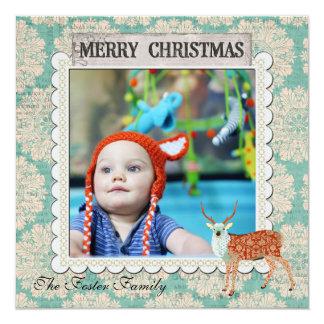 Tarjeta azul de la foto del navidad del dólar invitación 13,3 cm x 13,3cm