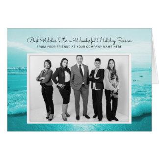 Tarjeta azul de la foto del negocio del navidad de