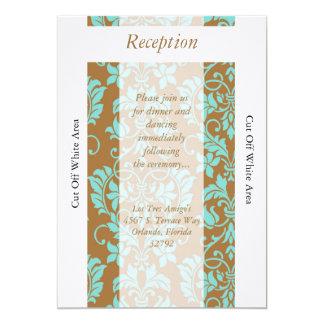 Tarjeta azul de la recepción de Brown y del Invitación 12,7 X 17,8 Cm