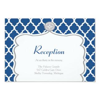 Tarjeta azul de la recepción nupcial de Quatrefoil Invitación 8,9 X 12,7 Cm