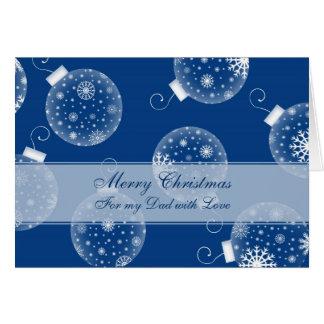 Tarjeta azul de las Felices Navidad del papá de la