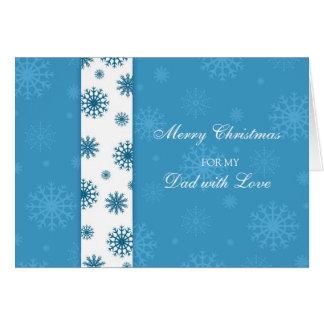 Tarjeta azul de las Felices Navidad del papá de lo
