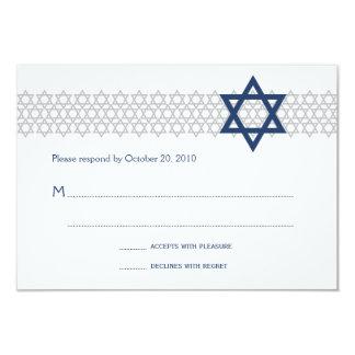 Tarjeta azul de Mitzvah RSVP de la barra brillante Invitación 8,9 X 12,7 Cm