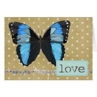 Tarjeta azul del amor del oro de la mariposa