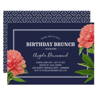 Tarjeta Azul del brunch del cumpleaños de la flor del