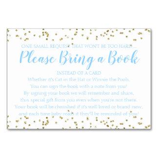Tarjeta Azul del confeti del oro de la petición del libro